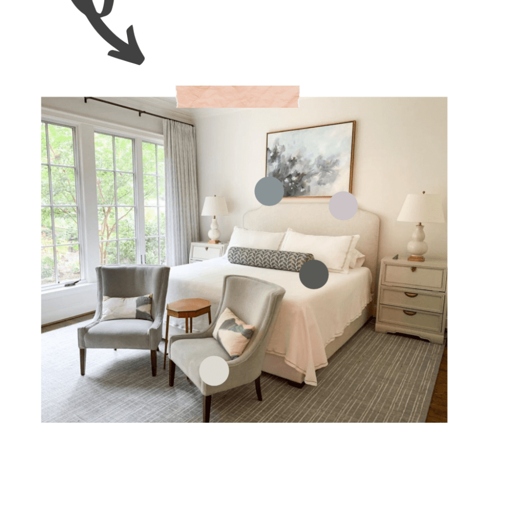 Bedroom color pallet derived from the Byron Pillow.