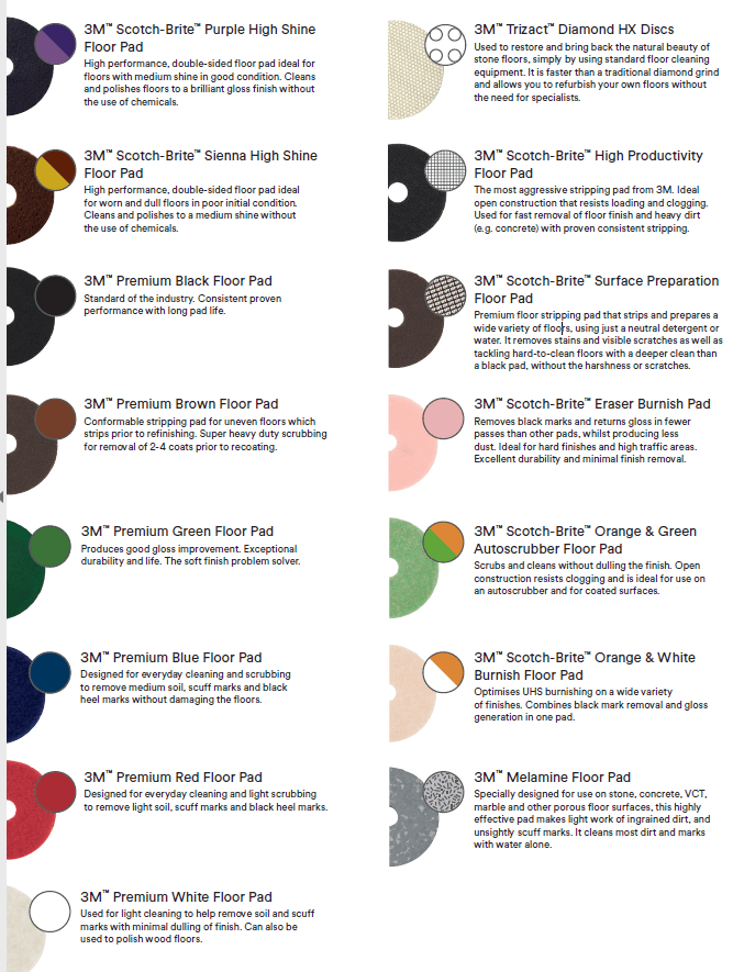 Floor Color Buffing Pad Chart