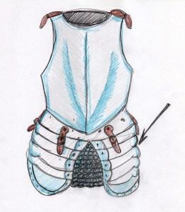 An einer Rüstung gab es spezielle Beintaschen (siehe Pfeil).