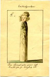 """Emilie von Gerschau wurde später besser bekannt als Emilie von Binzer oder """"Ernst Ritter"""". In dieser Karikatur von Ernst Welker ist sie als Spargel dargestellt. Der heitere Spruch darunter lautet: """"Den Spargel jeder gerne iszt / Emilie gar zu länglich ist."""""""