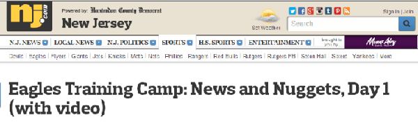 NJ.COM USES BURST TO COVER EAGLE FOOTBALL TRAINING CAMPS