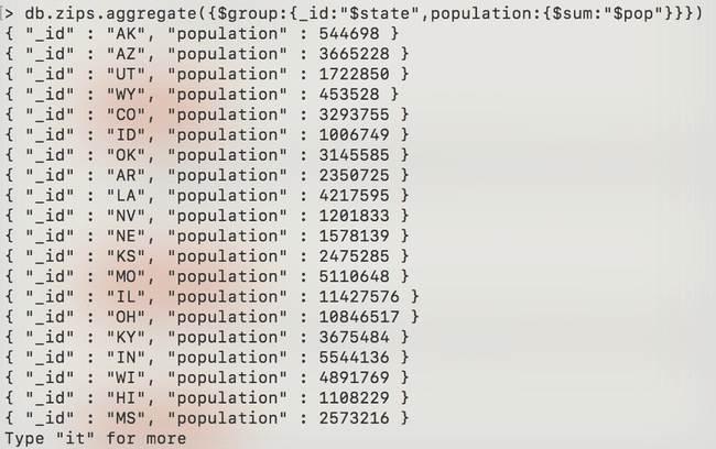 MongoDB : Agrégation - zip-aggregate-sum