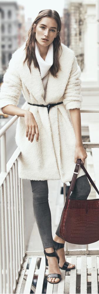 Vince Fuzzy Knit Boucle Coat