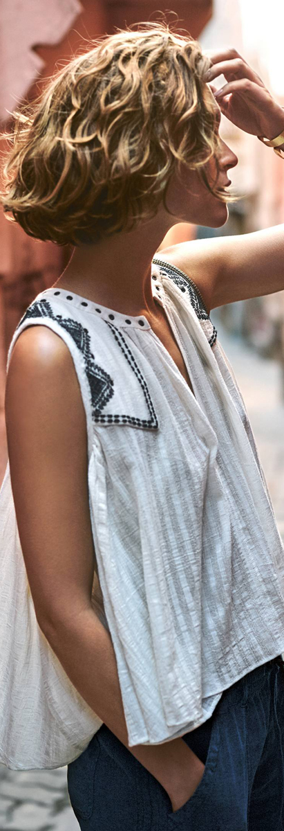 Anthropologie Split Neck Swing Tank