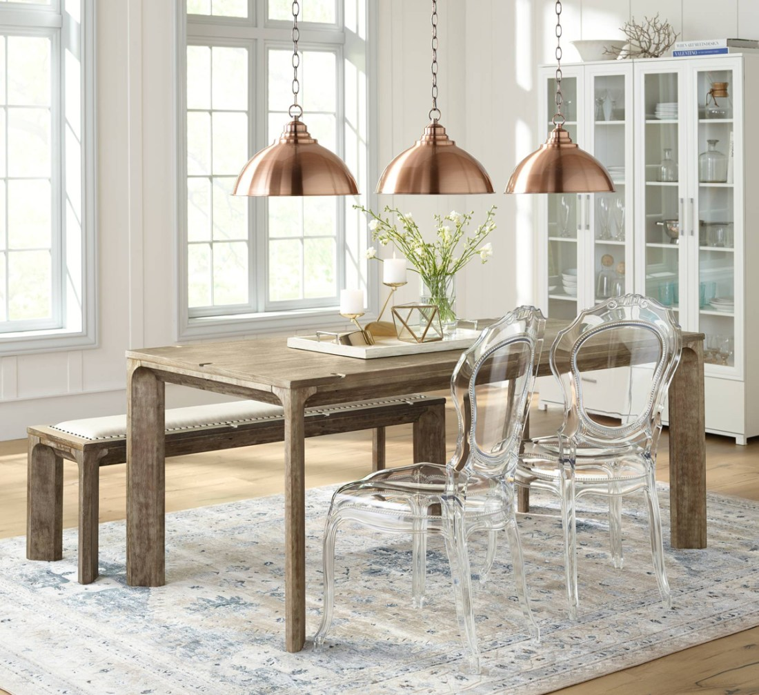 Dining Room With Copper Pendants