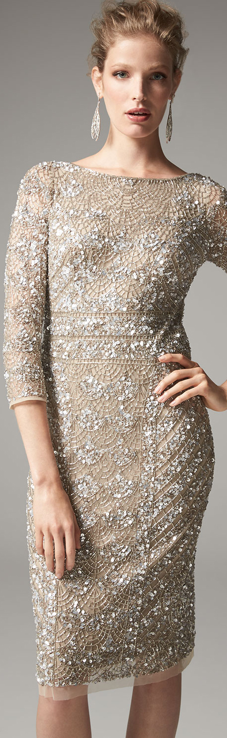 Theia Embellished Sheath Dress