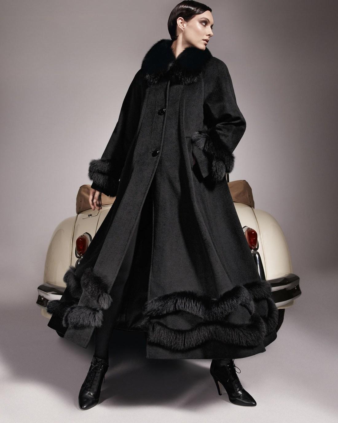 Belle Fare Fox Fur Trim Coat