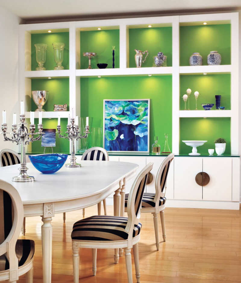 White Contemporary Dining Room with Green Accents