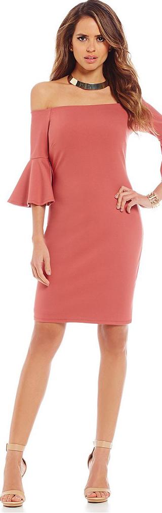 Gianni Binni Fan Fav Pamela Off-The-Shoulder Bell-Sleeve Dress