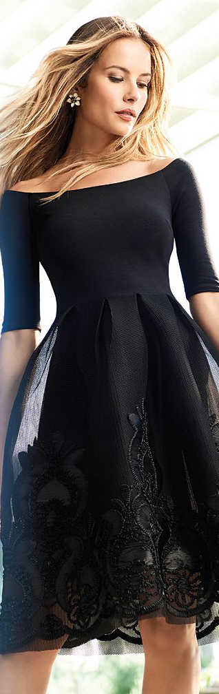 Gianni Bini Dana Off-The-Shoulder Embroidered Skirt Dress