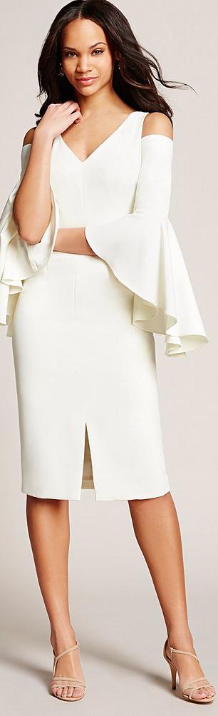 Maggy London V-Neck Cold-Shoulder Dress