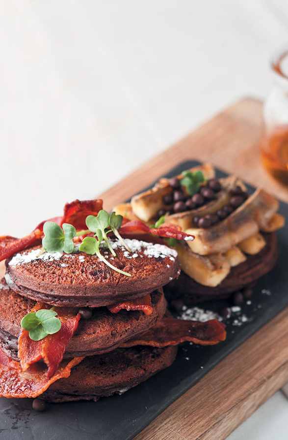 Double Chocolate Flapjacks with Grilled Bananas