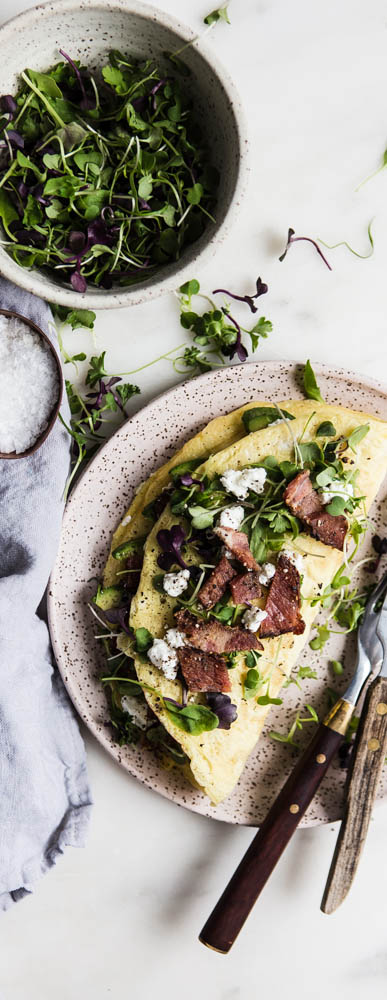 Avocado, Chevre & Bacon Omelette
