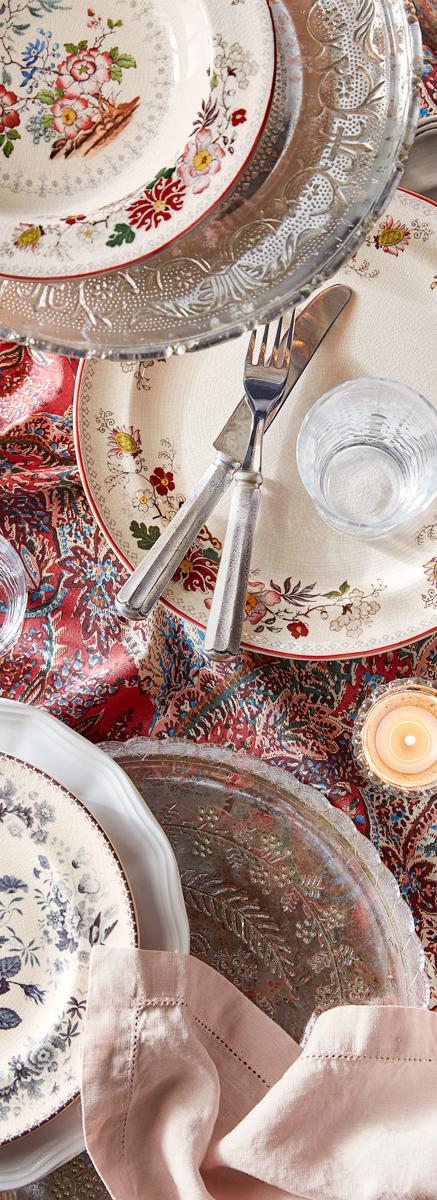 Fall Decorating   Artisanal Vintage Floral Dinnerware