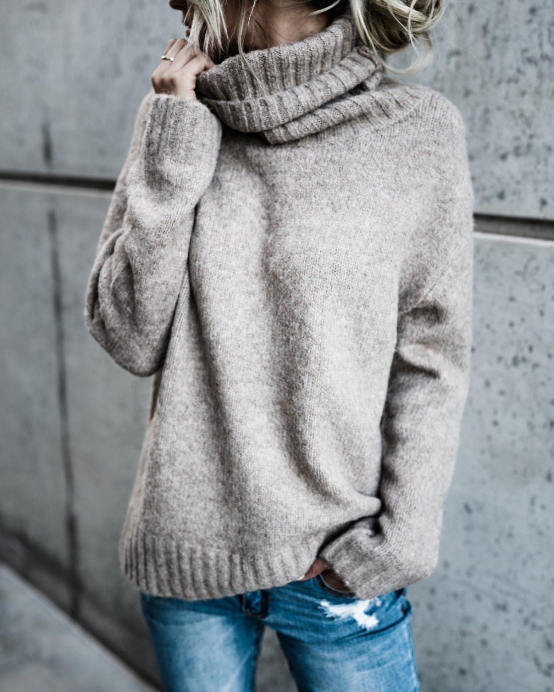 Casual Knit High Neck Loose Sweater