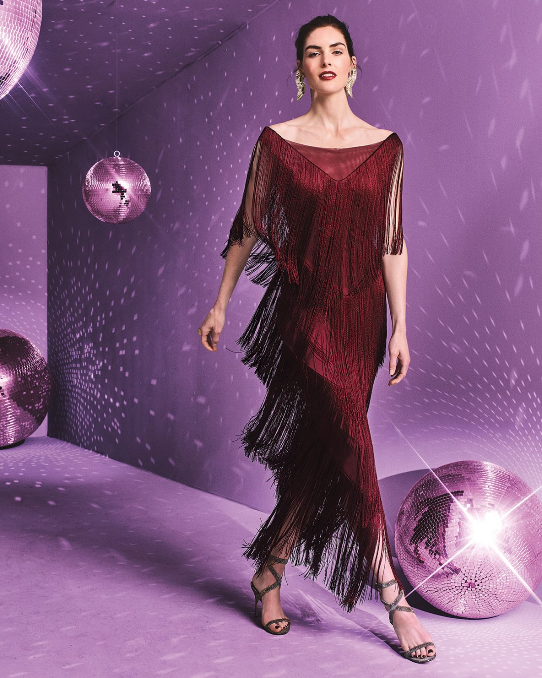 Chiara Boni La Petite Robe Casilda Tiered Fringe Column Dress