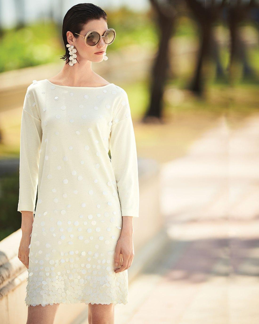Joan Vass Sequined-Front ¾ Sleeve Dress