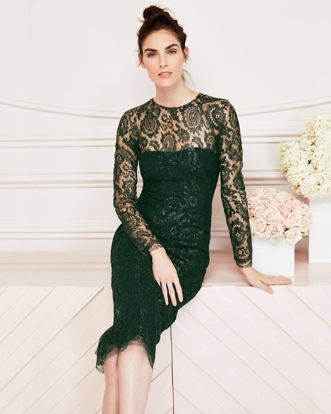 Lela Rose Long Sleeve Jewel Neck Dress