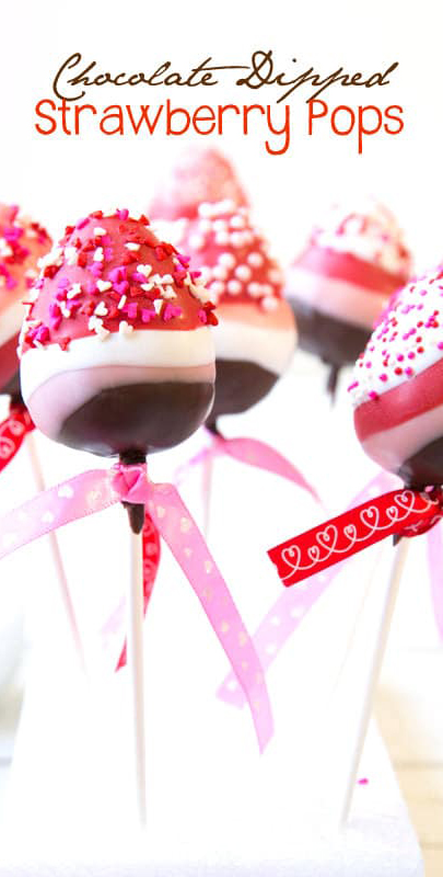 Valentine's Day Dessert Ideas | Chocolate Dipped Strawberry Pops | A Spicy Perspective