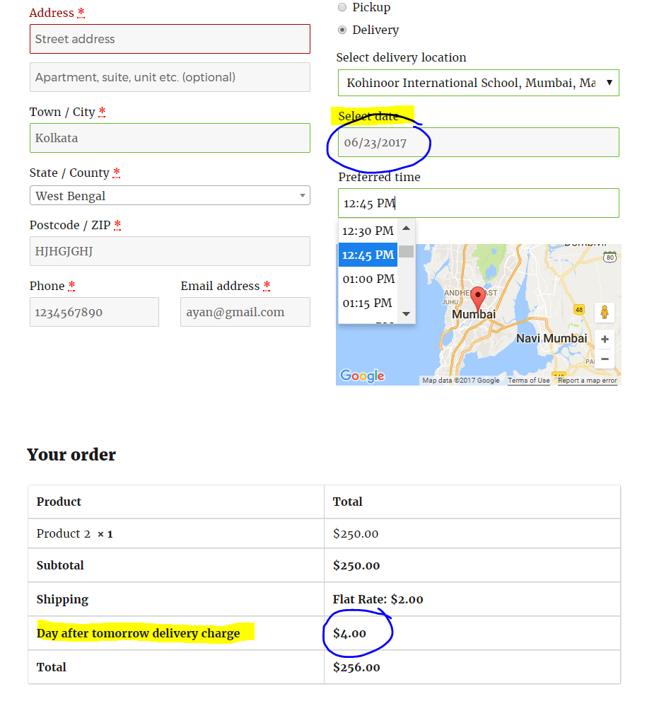 Day after tomorrow delivery charge applied on checkout page after selecting date and time