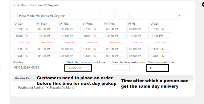 Minimum wait time and Next Day Pickup Order Placing Cutout Time