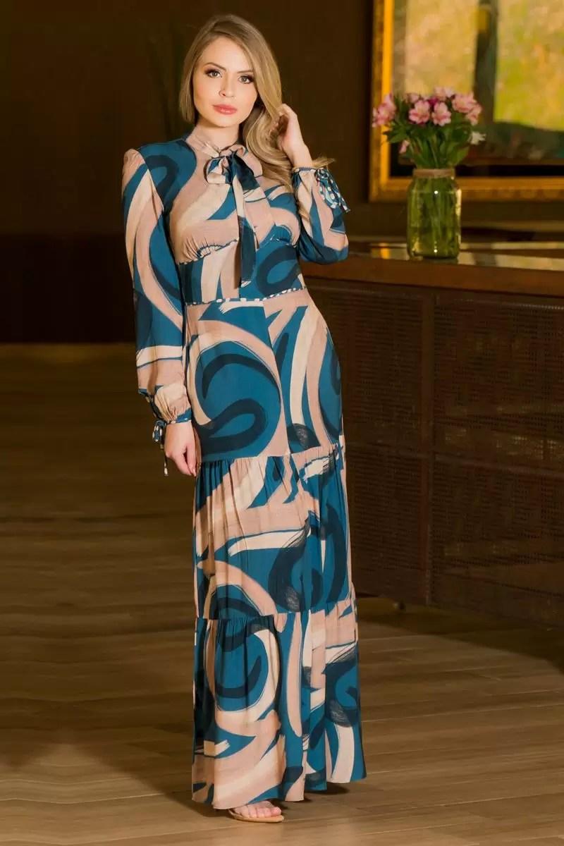Vestido longo moda evangelica
