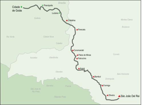 Picada de Goiás, estrada real do século dezoito de minas para goiás para escoar minérios