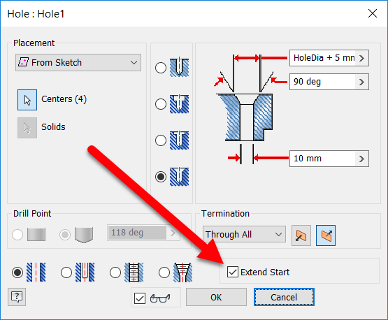 Inventor 2018 Hole Tool now includes Extend Start