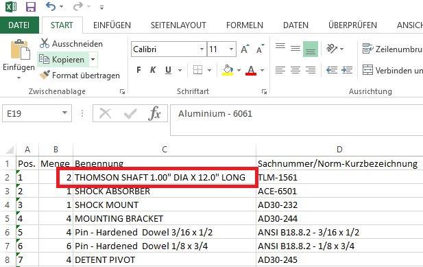 Fehler Stücklistenexport Inventor nach Excel