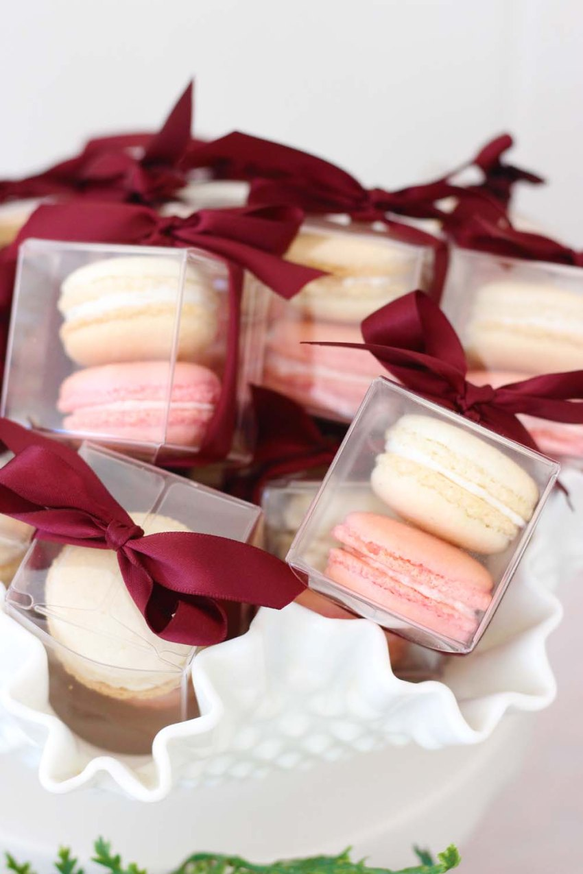 boxed macaron wedding favors from cafe pierrot in sparta nj