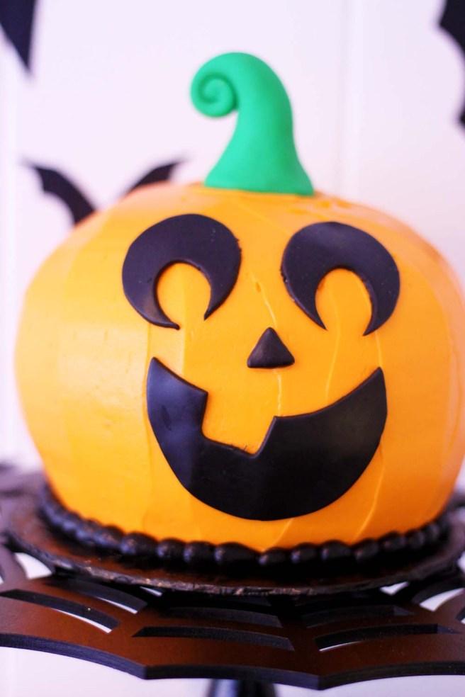pumpkin jack o lantern shaped cake from french bakery cafe pierrot