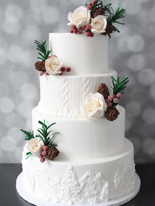 white on white wedding cake trend with cable knit details in buttercream from nj bakery cafe pierrot