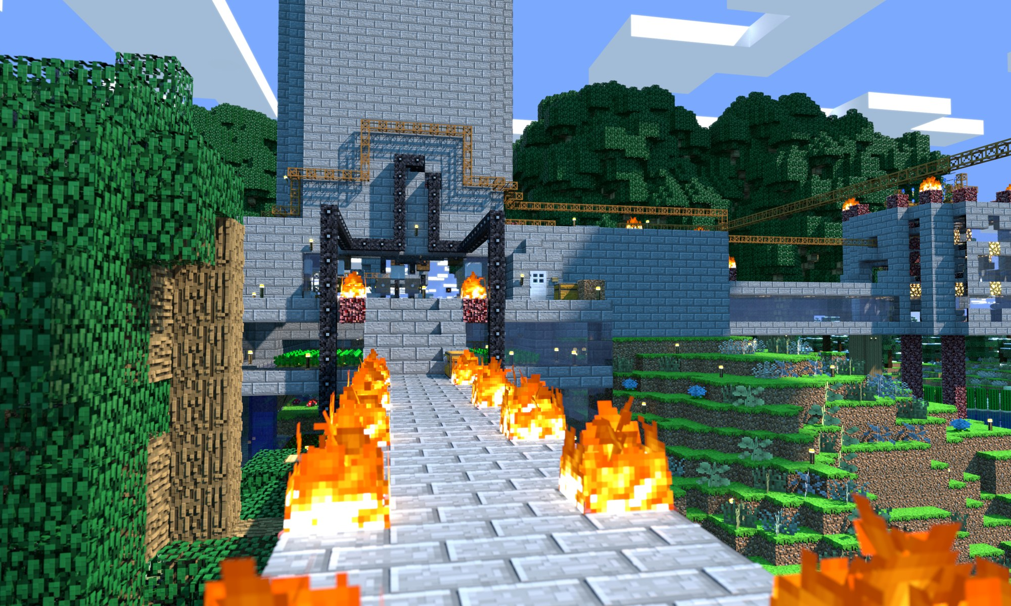 Minecraft Tower Rear 3D Render Wallpaper