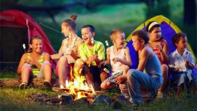 kids having fun playing campfire games
