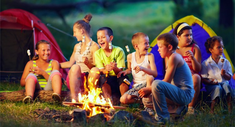 kids having fun playing campfire games