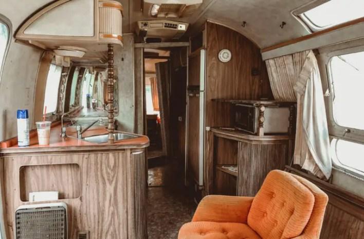 mavis the airstream camper trailer before restoration