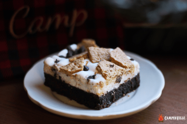 s'mores brownies on a plate