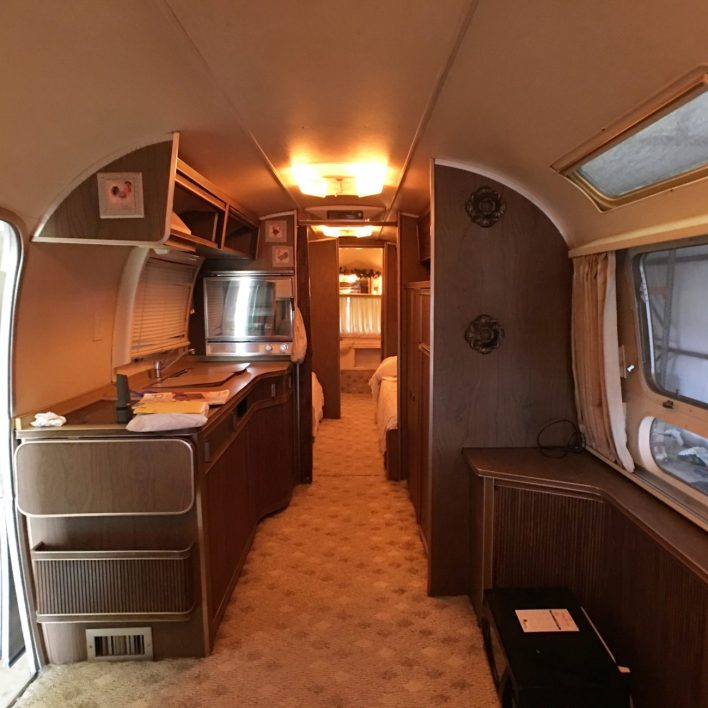 tiny shiny home airstream camper trailer before restoration