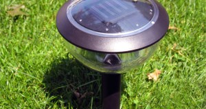 outoor solar light in grass at campsite
