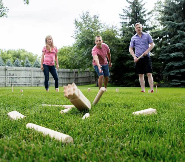 Backyard Games - Playing Kubb Outdoors With Friends