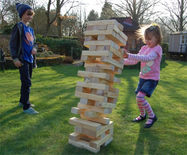 Outdoor Games - Playing Outdoor Jenga With Kids