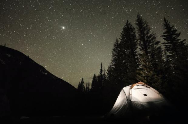 camping under the stars in a tent