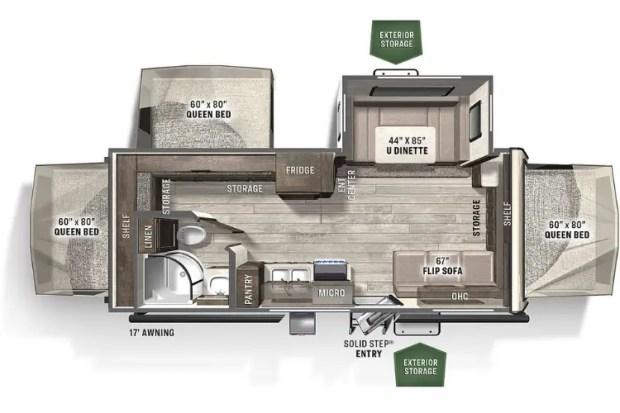 Hybrid Travel Trailer Floor Plan - 2020 Forest River Flagstaff- Shamrock 233S