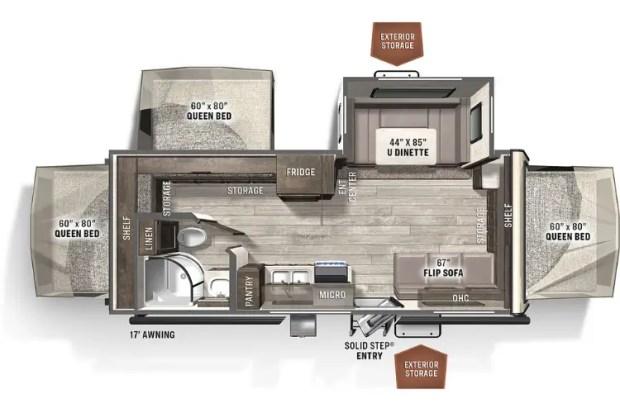 Hybrid Camper - 2021 Forest River Rockwood - Roo 233S Floor Plan