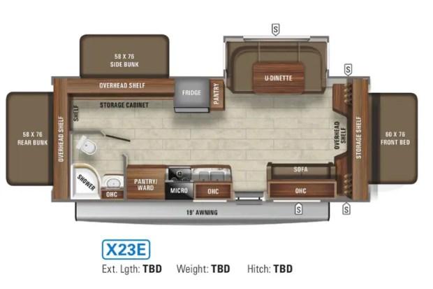 Hybrid Travel Trailer - 2021 Jayco Jay Feather - X23E Floor Plan