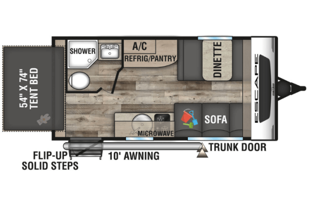Hybrid Travel Trailer - 2021 KZ Escape E160RBT Floor Plan