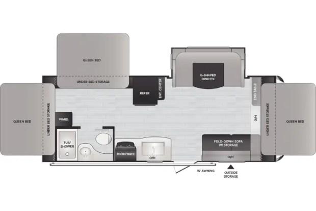 Hybrid Camper Trailer - Keystone Bullet Crossfire 2190ex Floor Plan