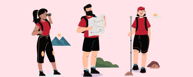 Three hiking hikers one scoping the way with a monocular, one holding the map and one leading the way with a wooden hiking pole