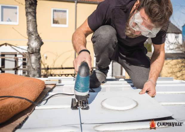 keeping pests out of camper trailer by fixing outside holes
