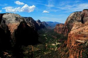 A view from the top of Angel's Landing at Zion National Park